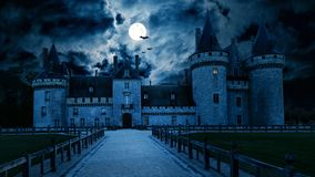 Free Haunted Gothic Castle At Night Stock Images - 159146894