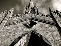 St Marys Chapel of Ease The Black Church. Three point perspective of an imposing and haunted black grey cathedral in Dublin, Ireland Royalty Free Stock Photos