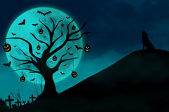 Haunted Grave And Wolf On Blue Moon Stock Photo