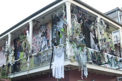 Haunted Halloween decorations on Bourbon Street Stock Photo