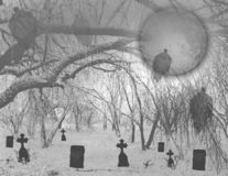 Haunted Halloween graveyard in woods Royalty Free Stock Photo