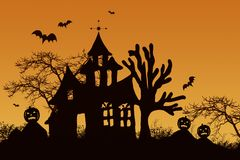 Haunted halloween house. With bats Stock Images