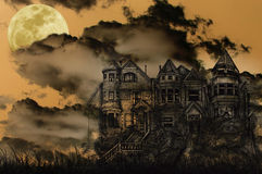 Haunted Halloween Mansion. Old Victorian Haunted Mansion Illustrated on a Spooky Background With Moon for Halloween Stock Photo