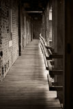 Haunted hallway. Ancient gloomy corridor in Gyula Royalty Free Stock Photo