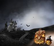 Haunted Hause with pumpkins the road ,dark scary cemetery smoke light gray on a black background Halloween horror concept stock photo