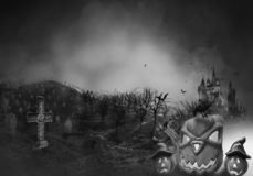 Haunted Hause with pumpkins the road ,dark scary cemetery smoke light gray on a black background Halloween horror concept stock illustration