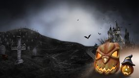 Haunted Hause with pumpkins the road ,dark scary cemetery smoke light gray on a black background Halloween horror concept vector illustration