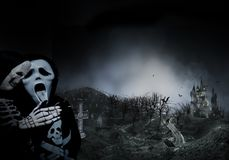 Haunted Hause with scary the road ,dark scary cemetery smoke light gray on a black background Halloween horror concept stock illustration