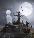 Haunted Hill with Ghost Stock Photography