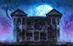 Haunted horror house. Old wooden grungy dark evil haunted house with evil spirits with full moon cold fog atmosphere and trees illustration Royalty Free Stock Photos