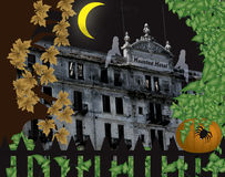 Haunted hotel. Halloween scene with pumpkin and ghosts Stock Images