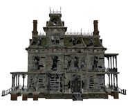 Haunted house 1. 3D render of an old ruined house Stock Images