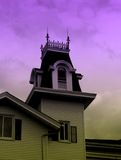 Haunted House. Spooky-looking house in purple and chartreuse tones Royalty Free Stock Images