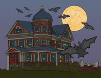 Haunted House. Vector art in Illustrator 8. Spooky house with LOTS of ghostly residents and a cemetery in the back yard.  Ooooooooooh Royalty Free Stock Images
