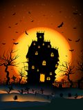 Haunted House. Vector Haunted House on a Graveyard hill at night with full moon Stock Photography