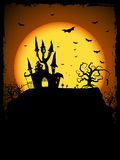 Haunted House. Vector Haunted House on a Graveyard hill at night with full moon Royalty Free Stock Image