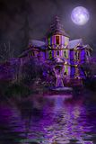 Haunted house. Victorian style purple haunted house with full moon computer illustration Stock Photos