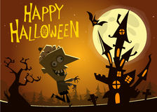 Haunted house  background with a walking zombie. Vector elements: walking dead zombie, cemetery, tombstone Royalty Free Stock Photography