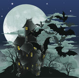 Haunted house and bats illustration. Halloween scene. Illustration of a spooky haunted ghost house with bats flying out of it against the moon Stock Image