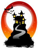 Haunted house with bats Stock Photo