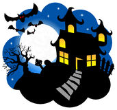 Haunted house with bats Royalty Free Stock Photos