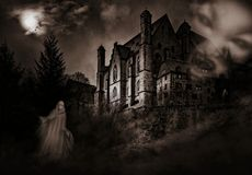 Haunted house in black and white