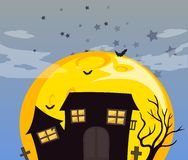 A haunted house and the bright full moon Stock Photo