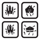 Haunted house or castle icon in four variations.  Stock Photo