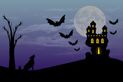 Haunted House Castle. Illustration of a halloween haunted castle under a moon lit sky Royalty Free Stock Photos