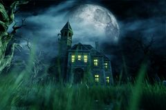Haunted house. In creepy forest,3d illustration vector illustration