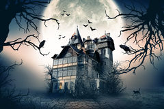 Haunted House. With Dark Horror Atmosphere. Haunted Scene House royalty free stock image