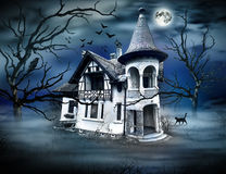 Haunted House with Dark Horrow Atmosphere. Stock Photo