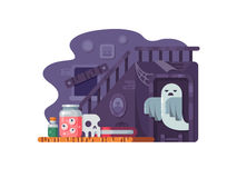 Haunted house flat. Haunted house. Old abandoned home with scary ghost. Vector illustration Royalty Free Stock Photo