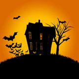 Haunted House with Flying Bats Stock Photo