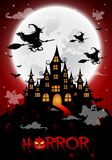 Haunted house and full moon with ghost,horror night background.Vector. Illustration Stock Images