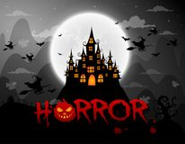 Haunted house and full moon with ghost,horror night background.Vector. Illustration Royalty Free Stock Photos