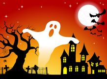 Haunted house in a full moon night Royalty Free Stock Photos