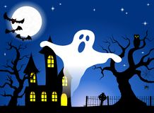 Haunted house in a full moon night Royalty Free Stock Image