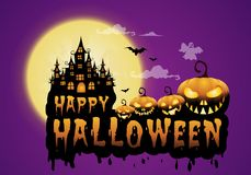 haunted house and full moon with pumpkins and ghost,party happy Halloween night background Royalty Free Stock Images