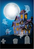 Haunted house and ghost with halloween background Vector Illustration