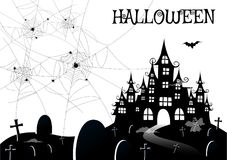 Haunted house with ghost,Halloween night background. Vector illustration Royalty Free Stock Photography