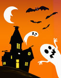 Haunted house and ghosts. Illustration of a haunted house with ghosts and bats Stock Photos