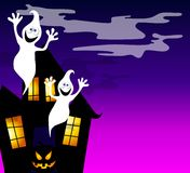 Haunted House and Ghosts 2. An illustration featuring a  haunted house with ghosts and jack o lantern Royalty Free Stock Photos