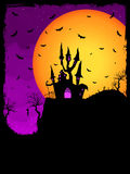 Haunted House on a Graveyard hill. EPS 8. Vector Haunted House on a Graveyard hill at night with full moon. EPS 8 vector file included Royalty Free Stock Photo