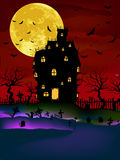 Haunted House on a Graveyard hill. EPS 8. Vector Haunted House on a Graveyard hill at night with full moon. EPS 8 vector file included Royalty Free Stock Photos