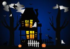Haunted house on Hallowed Eve stock illustration
