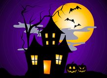 Haunted House Halloween 2. A clip art illustration of a haunted house halloween scene with spooky dead tree, moon, jack o lantern pumpkins, bats, and clouds at Royalty Free Stock Photos