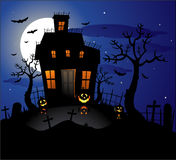 Haunted house halloween background Stock Photos