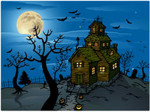 Haunted house halloween background Royalty Free Stock Photos