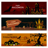 Haunted house in Halloween background Stock Photo